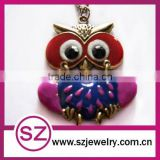 Attractive owl brass and enameled pendant necklace jewelry