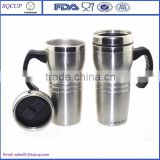 Custom Eco-friendly Stainless steel 16 oz coffee thermos travel mug with handle