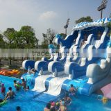 Inflatable water slide for waterpark swimming pool