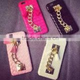 Luxury Plush Rabbit Fur Ball Tassel Pearl Chain PU Leather Hard Mobile Phone Cover Case For iPhone 6 G 6S Plus