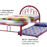 Metal Single Bed with Pull-out