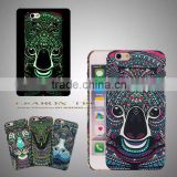 2016 new wholesale glow in dark animal embossed pc rubber coated phone case for iphone 6