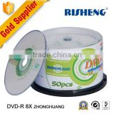 RISENG 8x 4.7GB 120MINs dvd disc 4.7g printed/8x dvd-r blank disc princo/blank dvd-r 8x/16x 4.7gb 50cakebox