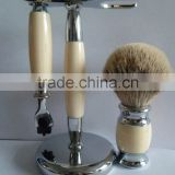 High quality pure badger shaving brush with razor set