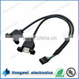 Custom Dupont 2.54mm pitch 5 pin to USB2.0 A male equipment internal connection moulded cable