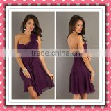2012 Beauty Sexy One-shoulder Mini Grape Purple Flower Party Dress Cocktail Dress HD-006