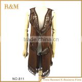 Factory direct sale lady fashion suede scarf shawl with long fringe
