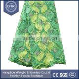 2016 green africa embroidery french lace 5 yard girls dress material dubai fabric lace wholesale embroidery beaded mesh fabric