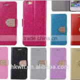 Black Flip PU Leather Phone Case for 5/5C/ 6/6plus Cards Pockets Magnet Stand Phone Case