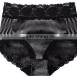 black mini stripes lady cotton lace waist panties