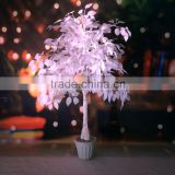 new elegant 4 ft Height Artificial Plastic White Leaves Banyan/ Ficus Tree for wedding decoration