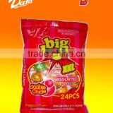 Dafa 25g assorted fruit flavors center filled bubble gum big bom lollipop