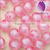miracle red 10mm Bulk chunky acrylic faceted pumpkin ball beads