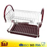 Kitchen 2 Tier Metal Collapsible Dish Drainer Rack with Plastic Tray and Cup Holder
