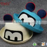 Summer Outdoor Leisure Mouse Cartoon Little Girls Wheat Fedora Straw Hat for Sale Unisex With Round Top
