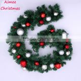 2014 hotsale christmas wreath with ball ornament,270cm christmas tinsel(AM-LJ04)
