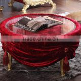 Living room furniture solid wood frame glass top fabric round shape coffee table