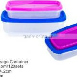 2pcs rect plastic storage box food container