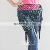 Wholesale high quality net paillette decorative triangle belly dance hip scarf