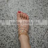 High quality gold anklet designs,women Indian belly dance anklet with toe ring