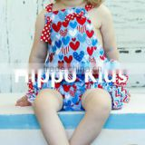 Wholesale new born clothes 4th of July ruffled romper cotton baby girl summer romper clothing set