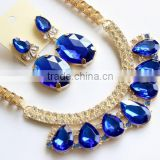 Fashion Sapphire Blue Gem Statement Necklace Earrings Set Jewelry Set