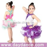 Girls Fringe Latin Dance Wear Color Contrast Fluffy Skirt Dance Costumes For Kids Competition