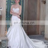 Long train ivory satin wedding dresses Beautiful Custom Made Mermaid Wedding Gown