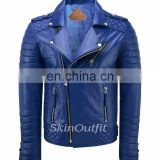 NEW MEN'S GENUINE LAMBSKIN STYLISH MOTORCYCLE BIKER LEATHER JACKET ROYAL BLUE
