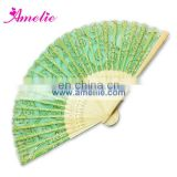 AF1418 Party gift green fabric bamboo hand fan