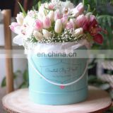 High quality luxury custom design colorfull cardboard round flower box/rose hat box