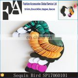 Custom Cute Sequined Beaded Bird Patches Sewing on Clothing Shoes