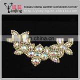 Professional Factory Rhinestone bridal Applique crystal Sash Bridal Applique pearl Wedding trim bead