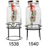 5.5L QUALITY  GLASS BEVERAGE DISPENSER WITH BLACK RACK