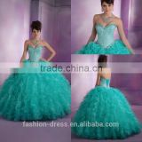 Luxury Ruffle Skirt Tulle Beaded Bodice Sweetheart Neckline Quinceanera Dresses