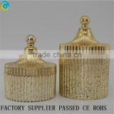 Mercury Gold Ribbed Fluted Glass Jar With Lid / Crystal Glass Candy Jar /Hand Pressed                                                                         Quality Choice