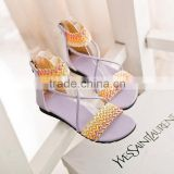 large size shoes no name brand shoes fashion flat summer sandals 2014 for women with vine style