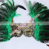 New Products 2016 Venetian Green Cock Feather Mask With Cloth Halloween Mask For Party And Stage Decoration