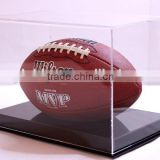 Customized Football display case full size cut out base holds ball 85% UV filtering acrylic memorabilia collectible showcase