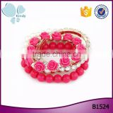 Fashion jewelry mix crystal plastic pearls beaded rose flower stretch bracelet