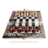 Wooden Marbleizing Double Sides Inside And Outside Marbleizing Folding Chess Set 3 In 1 Chess Game