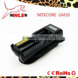 Wlspower Nitecore UM10 LCD screen black single charger UM10 18650 li-ion battery charger aaa aa ni-mh battery charger