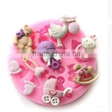 novelty cute beautiful cake decorating fondant silicone mold for concrete