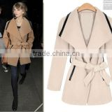 latest designer simple high quality long style women wool coat with belt,ladies wool winter jacket