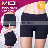 High quality four way stretch women plain gym wear seamless middle waistband yoga shorts