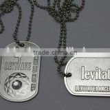 Exquisite identification metal dog tags with ball chain,bright nickel plated dog tags 3D for retail