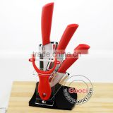 "RED Handle Professional chefs and home cooks 3""+ 4""+ 5""+Peeler Kitchen Ceramic knife Set"