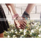 Hand-woven stone bracelet bangle fashion bracelet jewley multilayer wrap bracelet women crystal leather bracelet
