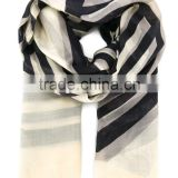 Fashion women scarf 100% cotton black and white stripes scarf