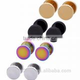 Ear Plugs Men Women Stainless Steel Piercing Gauge Body Illusion Jewelry Black Gold Silver